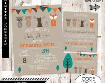 Woodland Forest Friends Baby Shower Invitation. Woodland Baby Shower Invitation.Forest Animals Baby Shower Invitation.Fox Baby Shower Invite