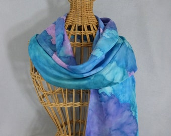 "Silk Scarf ""Turquoise and Lavender Blend"", Hand Painted Silk Scarf"