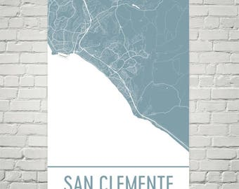 San Clemente Map, San Clemente Art, San Clemente Print, San Clemente CA Poster, San Clemente Wall Art, Gift, Map of California, Poster