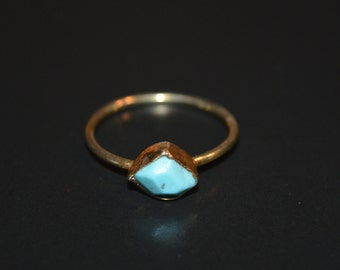 Raw, Raw Stone Ring, Turquoise Ring, December Birthstone, Promise Ring, Gold Ring, Stackable Ring, Gemstone Ring, Gift For Her