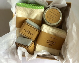 Face Pamper Gift Set - Vegan - Organic Soaps - Face Scrub - Face Cloth - Cleanser Pads - All Natural