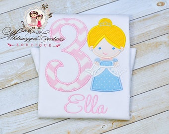 Baby Girl Princess Birthday Shirt - Custom Princess As Cinderella Birthday Outfit - Pink and Blue Princess Shirt