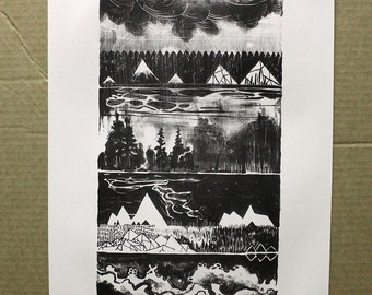 Landscape art - lithograph - black and white History of Water and Stone - wall art - wall hanging - home decor - bohemian decor printmaking