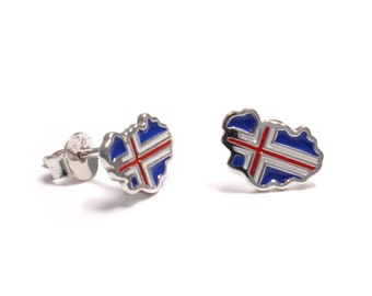 Football World Cup Earrings sterling Silver: Iceland