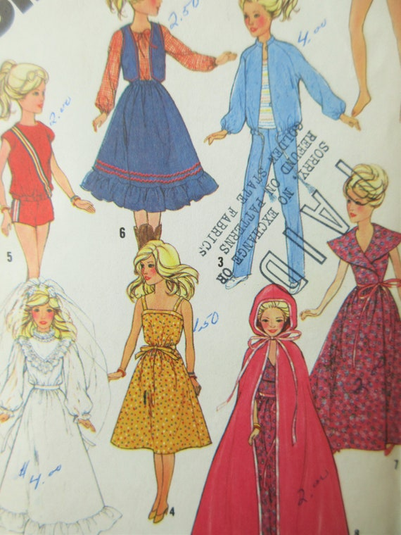 Vintage Simplicity 5356 Sewing Pattern 1980s Barbie Clothes