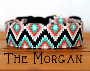 """Girly Aztec Inspired Black Turquoise & Coral Geometric Collar Dog Collar """"The Morgan"""""""