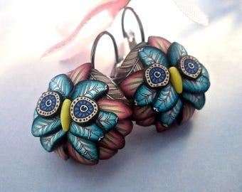 Woodland Earrings, Owl Earrings, Polymer Clay Earrings, Custom Jewelry, Handmade Earrings, Millefiori Earrings, Pink Earrings, Wearable Art