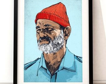 Steve Zissou portrait print, Bill Murray print, Wes Anderson print, The Life Aquatic, film print, Steve Zissuo, Bill Murray portrait