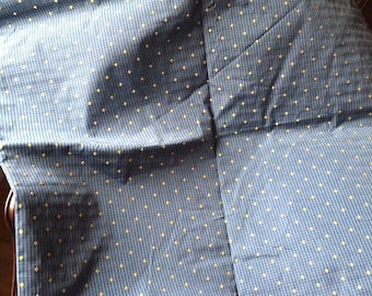Blue & Gold Upholstery Fabric Remnant Vintage
