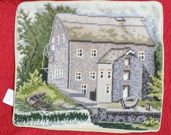 """Needlepoint Pillow Case Cover Gray & Green Wool Tapestry House Cottage Hamlet Country Summer Boat Waterfall Creek Stream 12"""" x 14"""" Rectangle"""