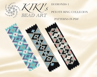 Pattern, peyote ring patterns Diamonds, ring patterns - peyote ring pattern set of 3, patterns in PDF - instant download