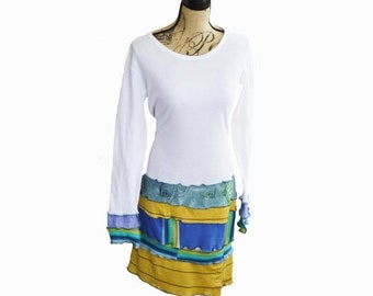 Summer Upcycled White Long Sleeved Dress Size M/L Cotton Colorful Fall