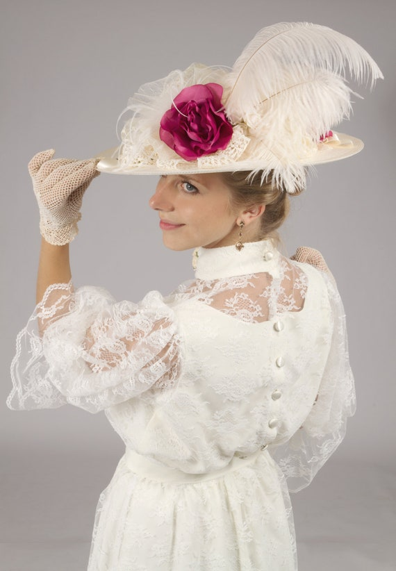 Victorian Wedding Dresses, Shoes, Accessories Wine Roses Edwardian Hat $60.00 AT vintagedancer.com