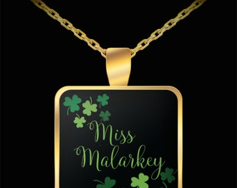 Miss Malarkey Gold Pendant, St Patrick's Day Necklace, Lucky Charm Necklace, Gold Plated Irish Charm Necklace, Irish Gift, Irish Necklace