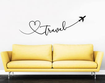 Travel Say Quote Travel Wall Decal Vinyl Stickers Decals Home Decor Love Planes Decals Vinyl Lettering Wall Decal Bedroom ZX287