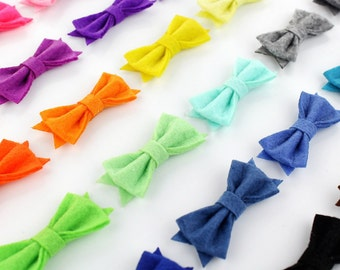 "Wholesale Bows, Felt Bows, Fabric Bow, Small, tiny, 2"" Tuxedo Bows, baby headband bows, DIY hair bow supplies, girls bows, no clips, bulk"