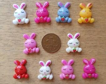 set if 10 resin flatback bunny rabbits