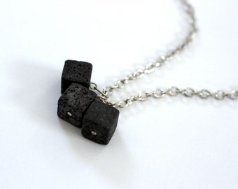 Lava bead trio men's necklace, geometric cubes, inspired by Iceland