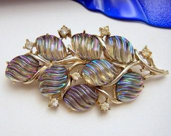 Vintage Coro Pegasus Brooch Iridescent Art Glass Rhinestones Light Gold Tone