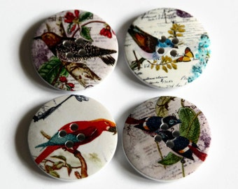 4 Large Bird Buttons - 30mm - White Wood Buttons - Big Wooden Buttons - Bird Print Buttons - Nature Button - PW115