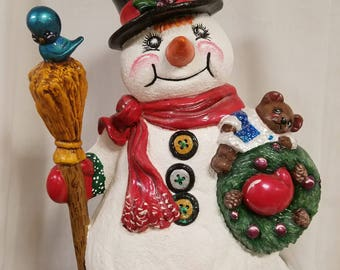 Large Snowman with Broom