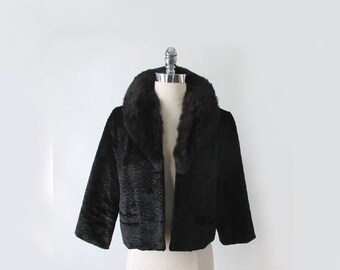 Vintage Black Velvet Faux Persain Lamb  Real Fur Collar