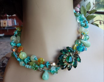 three strand assorted stone choker with vintage center