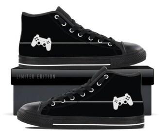 Video Game Controller Print Hi Top Gamer Sneakers