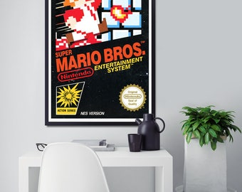 1985 Super Mario Bros. NES Original Box POSTER! (24 x 36 or Smaller) - Nintendo - Gamer - Mario Brothers - Video Game - Full Size - Vintage
