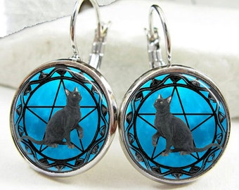 Black Cat Earrings, Black Cat Wiccan Pentagram earrings, Black Cat Wiccan Pentagram with Blue Moon Background Earrings (ER0602)