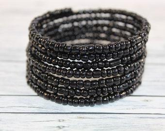 Black glass beads memory wire bracelet