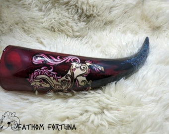 14oz Red Glittery Valentine Unicorn Drinking Horn with Leather Holster