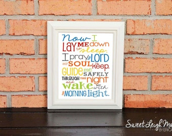 Now I Lay Me Down to Sleep Prayer – Gender Neutral - Primary Colors - Playroom - Christian Art - Baptism Gift - Christening Gift