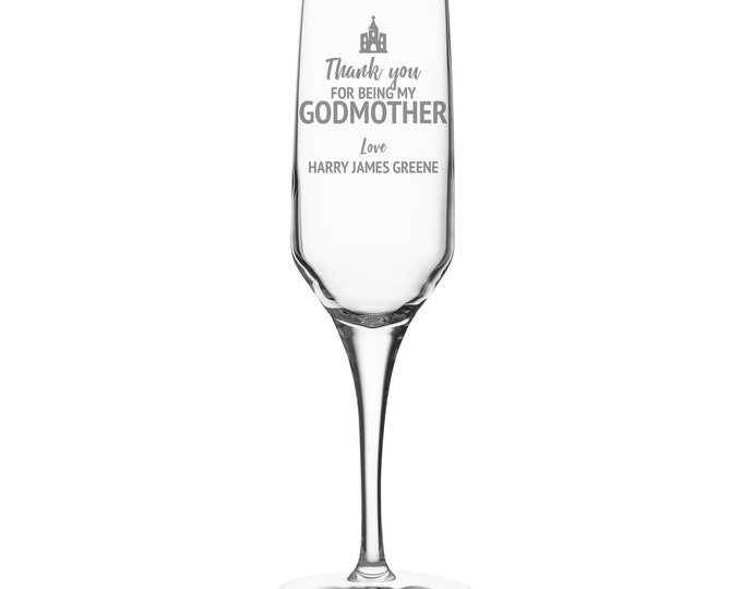 Engraved GODMOTHER champagne prosecco flute glass christening baptism gift, personalised godparent crystal wine flute - DHC-GDM
