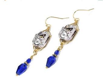 Steampunk Jewelry Earrings Gold ART DECO Watch Cobalt Blue Crystal Dangle Earrings, Wedding, Birthday Mothers Day - Jewelry by edmdesigns