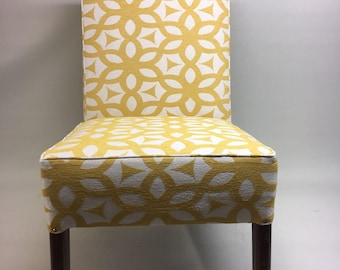 Refurbished oak framed vintage chair recovered in a gorgeous yellow fabric