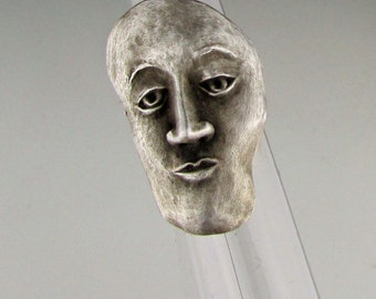 """Ring, Sterling Silver, by Barbara Becker Simon Jewelry Design,  Mask Series:  """"Nowhere Man"""",  Size 6.5"""