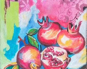 POMEGRANATES - VERY COLORED STILL LIFE