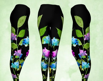Leggings, pantalons de Yoga, Hortensia fleur, fleurs en aquarelle, boho pantalons, leggings floral, violet et rose, turquoise noir, original cadeau
