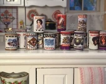 Miniature Food Cans, Set of 24, Mini Food, Dollhouse Miniature, 1:12 Scale, Dollhouse Food, Pantry Cupboard Cans, Miniature Food Cans
