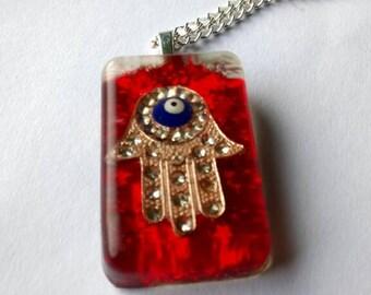 Hamsa Pendant Evil Eye Pendant Evil Eye Necklace Hamsa Necklace Amulet Hand of Fatima Necklace Evil Eye Amulet Hand of Fatima pendant OOAK