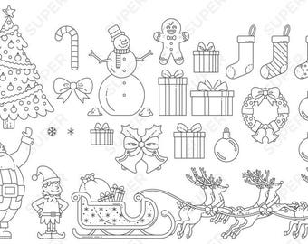 Christmas Clip Art (Just Outline), Vector Graphics, Digital Images, Illustration, Icon, Instant Download – Tree, Holiday, Presents, Santa,