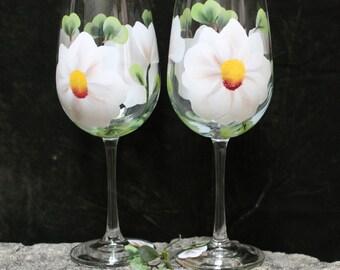 Hand Painted Wine Glasses - White Magnolia (Set of 2)