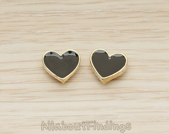 ERG399-01-G-BL // Glossy Gold Plated Black Epoxy Painted Simple Heart Earpost, 2 Pc