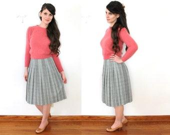 1960s Plaid Skirt / 60s Plaid Pleated Wool Skirt