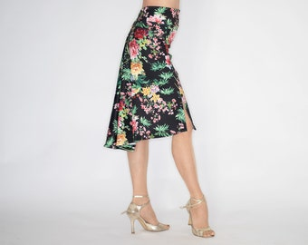 TROILO Swinging Flow Tango Skirt - Spring Flowers Black
