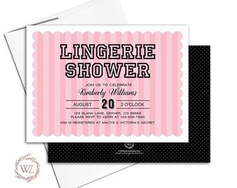 Lingerie shower invitation, striped bridal shower invites, pink and black, printable or printed - WLP00602