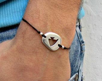 Ocean Fish cord bracelet, men's bracelet, Silver Pebble, bracelet for men, gift for him, mens jewelry, adjustable