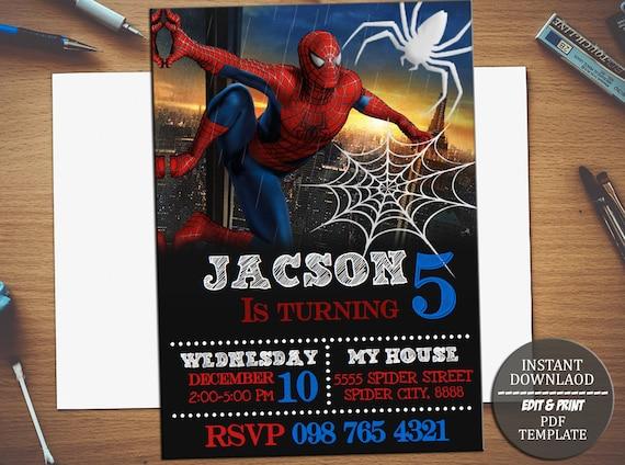 Instant download spiderman birthday invitationspiderman solutioingenieria Gallery
