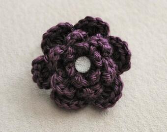Dark Purple Crocheted Flower Ponytail Holder